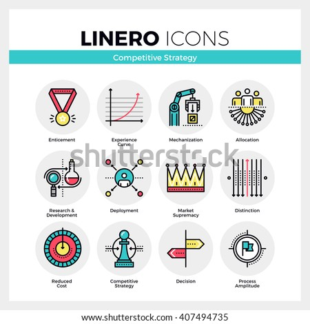 Line icons set of business strategy, competitive advantage. Modern color flat design linear pictogram collection Outline vector concept of mono stroke symbol pack Premium quality web graphics material