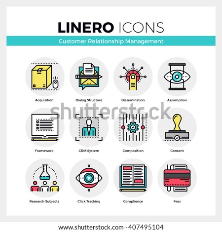 Line icons set of customer relationship management system. Modern color flat design linear pictogram collection. Outline vector concept of mono stroke symbol pack Premium quality web graphics material