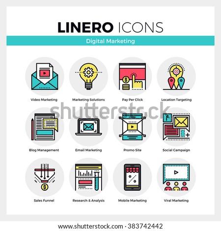 line icons set of digital