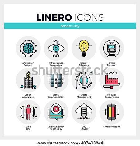 Line icons set of future smart city infrastructure system. Modern color flat design linear pictogram collection. Outline vector concept of mono stroke symbol pack Premium quality web graphics material