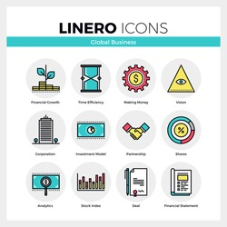 Line icons set of global business, partnership corporation. Modern color flat design linear pictogram collection. Outline vector concept of stroke symbol pack. Premium quality web graphics material.