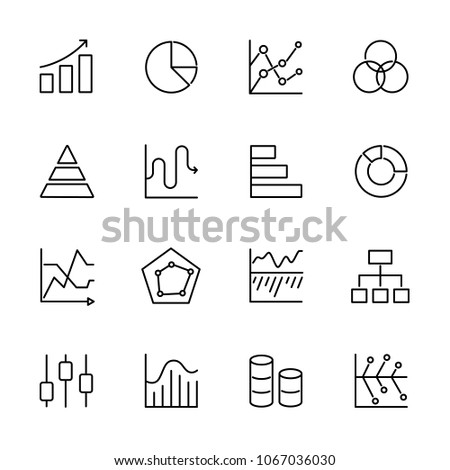 Line icons set of graphic chart diagram. Editable stroke vector 100x100 Px.