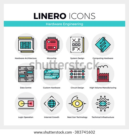 Line icons set of hardware engineering technology production. Modern color flat design linear pictogram collection. Outline vector concept of stroke symbol pack. Premium quality web graphics material.
