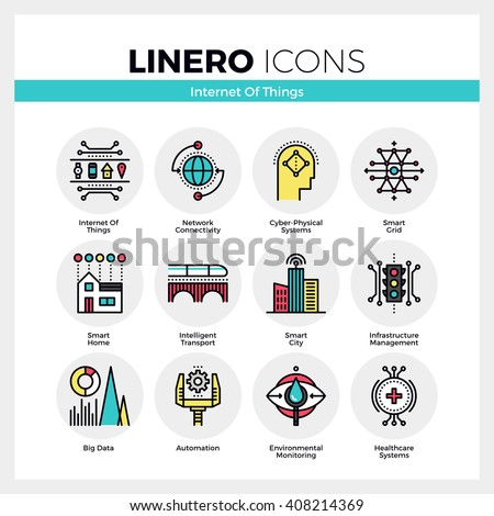 Line icons set of internet of things technology infrastructure. Modern color flat design pictogram collection. Outline vector concept of mono stroke symbol pack. Premium quality web graphics material.