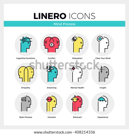 Line icons set of mental and mind processes of human brain. Modern color flat design linear pictogram collection Outline vector concept of mono stroke symbol pack Premium quality web graphics material