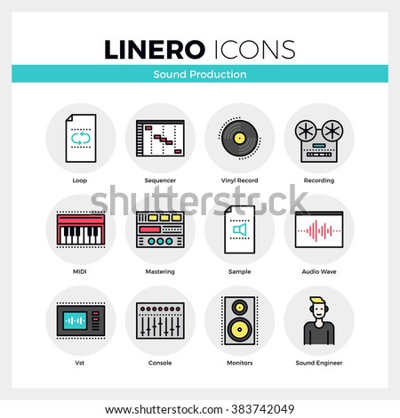 line icons set of sound