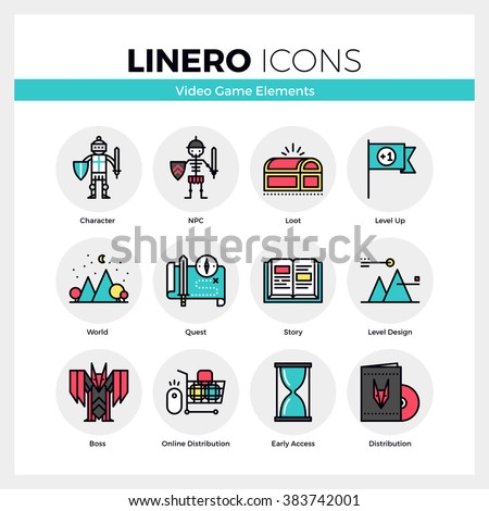 line icons set of video game