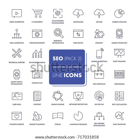 Line icons set. SEO pack. Vector illustration.  #717031858