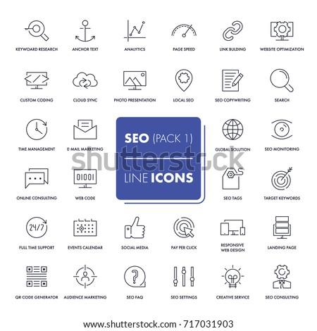 Line icons set. SEO pack. Vector illustration.  #717031903
