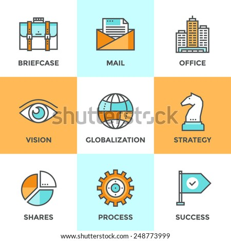 Line icons set with flat design elements of business effective solution, success tactics and strategy decision, globalization and internet communication. Modern vector pictogram collection concept.