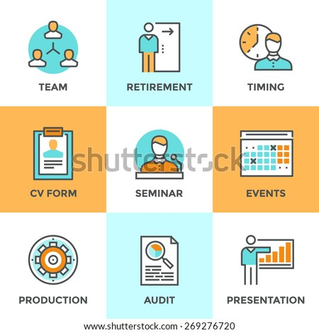 Line icons set with flat design elements of business people management, company growth presentation, seminar training, human resources and retirement. Modern vector logo pictogram collection concept.