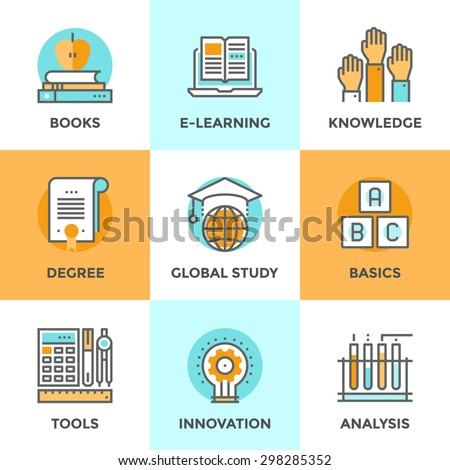 Line icons set with flat design elements of e-learning books for education, degree of specialist, basic and elementary study, innovation of science analysis. Modern vector pictogram collection concept