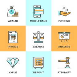 Line icons set with flat design elements of financial investment for development business project, mobile banking and accounting tools, safe deposit service. Modern vector pictogram collection concept