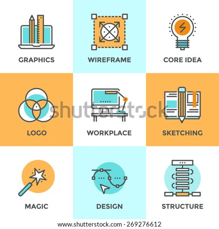 Line icons set with flat design elements of graphic design development, create logo or emblem, sketch drawing, super magic skills, designer workplace. Modern vector logo pictogram collection concept.