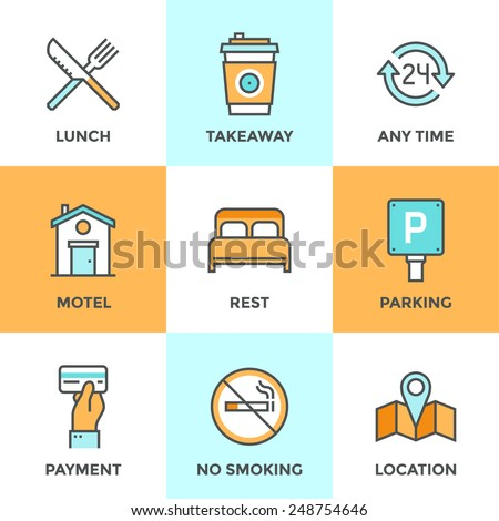 Line icons set with flat design elements of motel accommodation services, small hotel general amenities, parking and no smoking sign, open for 24 hours. Modern vector pictogram collection concept.