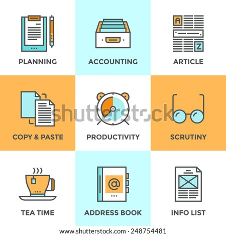 Line icons set with flat design elements of office accounting and clerk working routine,  business planning, paperwork routine, personal time management. Modern vector pictogram collection concept.
