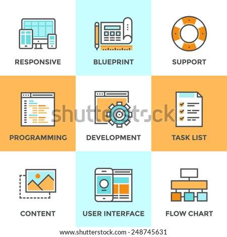 Line icons set with flat design elements of responsive web development service, website programming process, webpage coding and user interface creating. Modern vector pictogram collection concept.