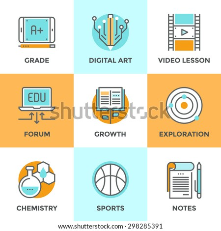 Line icons set with flat design elements of skill growth with reading book, learning information in video lesson, A+ grade on digital tablet, text notebook. Modern vector pictogram collection concept.