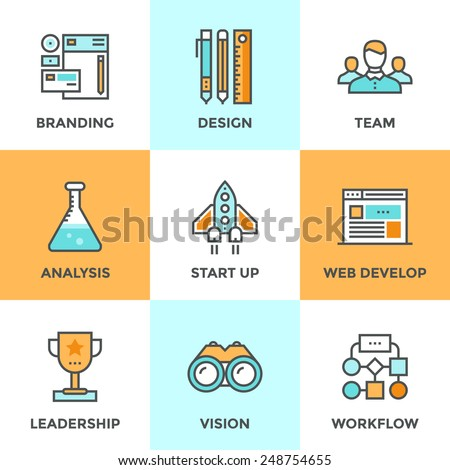 Line icons set with flat design elements of success startup of new product, agency planning and workflow, market analysis, business process development. Modern vector pictogram collection concept.