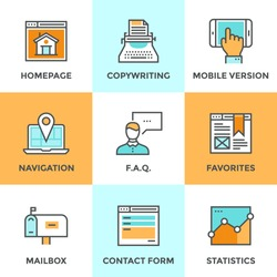 Line icons set with flat design of website main elements and page features, web site mobile version, navigation pin, contact form and internet analytics. Modern vector pictogram collection concept.