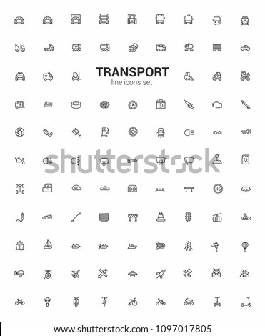 Line icons transport symbols