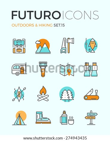 Line icons with flat design elements of camping equipment, hiking activity, outdoors adventure, mountain climbing, recreation tourism. Modern infographic vector logo pictogram collection concept.