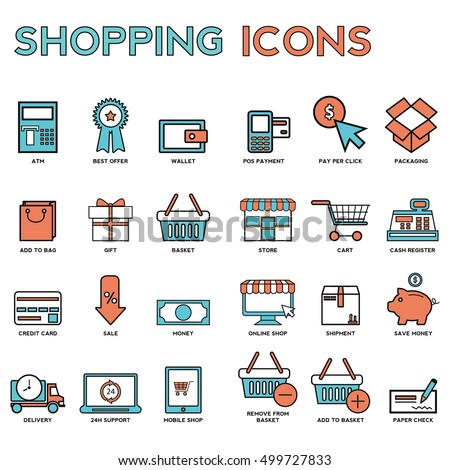 Line icons with flat design elements of market store goods, retail shopping activity, discount for products, consumer items for selling. Modern infographic vector logo pictogram collection concept #499727833