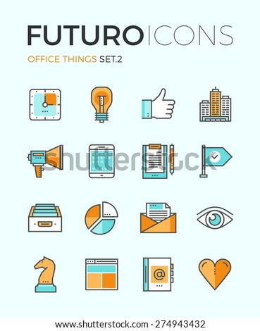 Line icons with flat design elements of marketing things and business essential tools, personal office equipment, work accounting routine. Modern infographic vector logo pictogram collection concept.