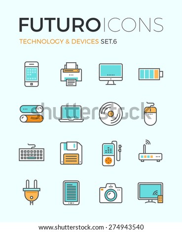 Line icons with flat design elements of personal electronics and multimedia devices, consumer technology object, home and office appliances. Modern infographic vector logo pictogram collection concept