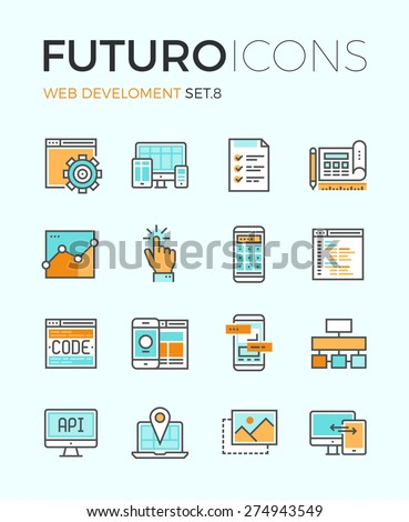 line icons with flat design