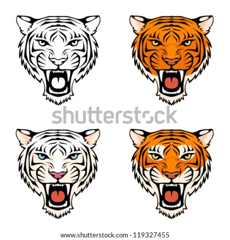 line illustration of a roaring