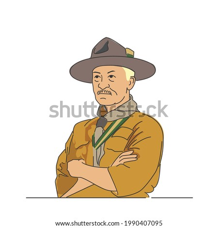 line illustration of Robert Stephenson Smyth Baden-Powell