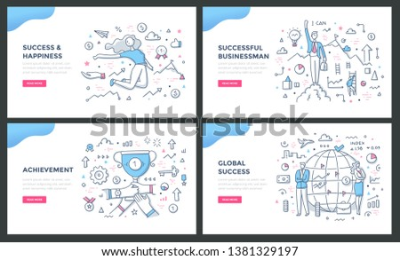 Line illustrations of success concepts: successful businessman, success & happiness, achievement reward, global success. Doodle vector concepts for web banners, hero images or printed materials