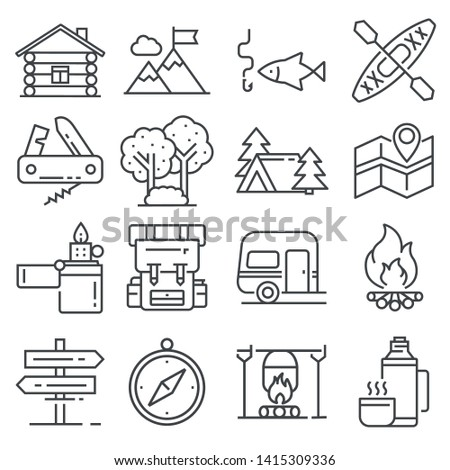 Line Leisure and outdoor recreation activities icon set