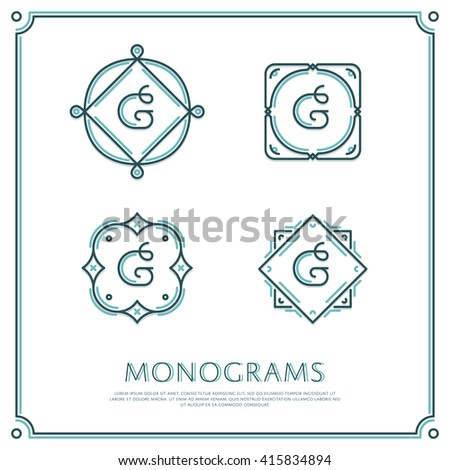 Line Letter G Monogram. Vector Logo. Design Border Elements.