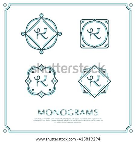 Line Letter K Monogram. Vector Logo. Design Border Elements.