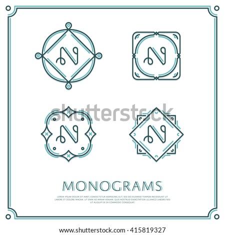 line letter n monogram vector
