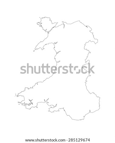line map of Wales UK