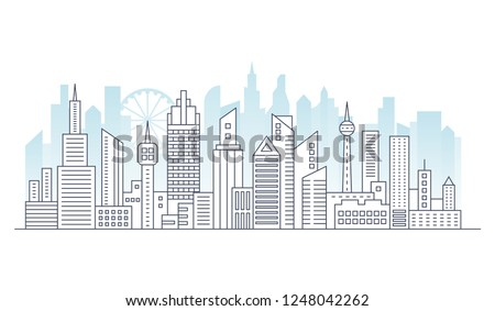 Line modern urban big city panorama with color building on background. Outline stroke cityscape skyscrapers vector illustration.
