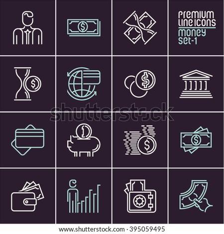 line money vector icons set