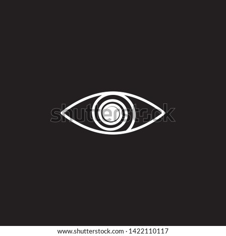 Line mystical eye icon, magic eye with spiral, clinic for recovery vision, lasik, pictogram. Vector esoteric illustration