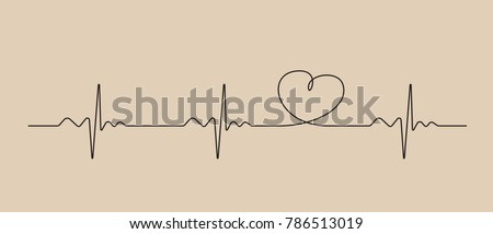 Line of cardiogram with heart on brown background., vector illustration