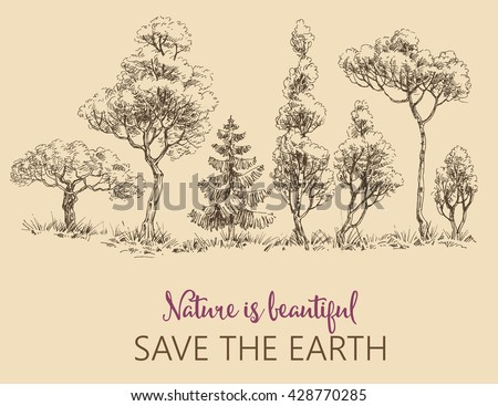 line of trees  save the earth