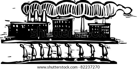 Line of workers walking with a factory on their backs