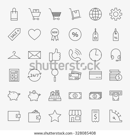 Line Online Shopping and Commerce Icons Big Set. Vector Set of 36 E-commerce and Marketing Modern Thin Line Icons for Web and Mobile