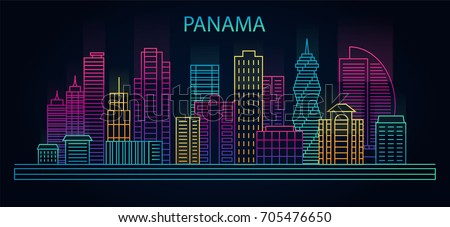 line panama city city night background cityscape in linear style in neon lights vector