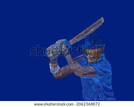Line Pattern Cricket Batter Player Of Afghanistan On Blue Background.