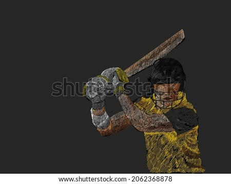 Line Pattern Cricket Batter Player Of Australia And Copy Space Against Background.