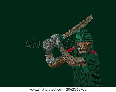 Line Pattern Cricket Batter Player Of Bangladesh On Green Background.