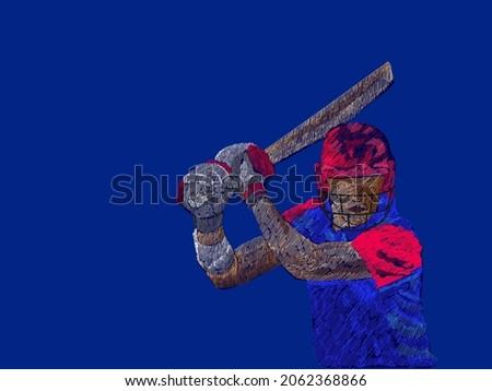 Line Pattern Cricket Batter Player Of England On Blue Background.